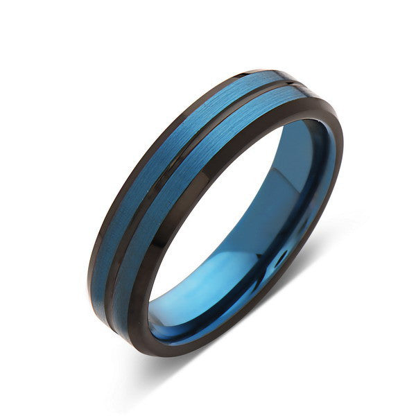 Blue Tungsten Wedding Band - Blue Brushed Tungsten Ring - 6mm - Mens Ring - Tungsten Carbide - Engagement Band - Comfort Fit