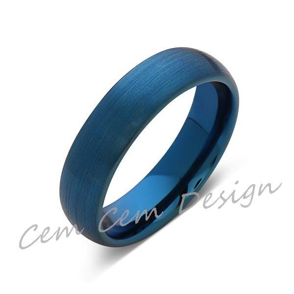 Blue Tungsten Wedding Ring - Blue Brushed Tungsten Band - 6mm - Mens Ring - Tungsten Carbide - Engagement Band - Comfort Fit - LUXURY BANDS LA