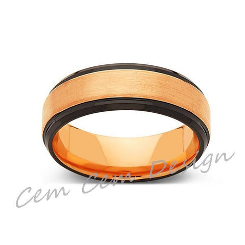 8mm,New,Unique,Brushed,Rose Gold,Black,Tungsten Ring,Mens Wedding Band,Unisex,Comfort Fit - LUXURY BANDS LA