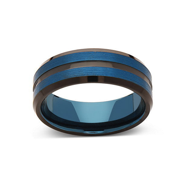 Blue Tungsten Wedding Band - Blue Brushed Tungsten Ring - 8mm - Mens Ring - Tungsten Carbide - Engagement Band - Comfort Fit - LUXURY BANDS LA