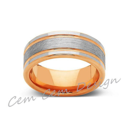 8mm,New,Unique,High Polish,Brushed,Rose Gold,Tungsten Ring,Wedding Band,Mens,Comfort Fit