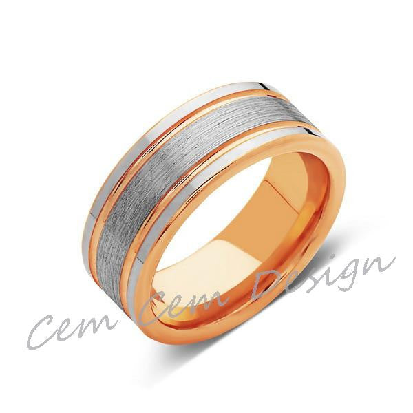 8mm,New,Unique,High Polish,Brushed,Rose Gold,Tungsten Ring,Wedding Band,Mens,Comfort Fit - LUXURY BANDS LA