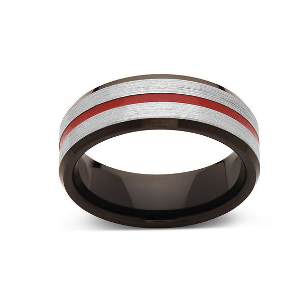Red Tungsten Wedding Band - Gray Brushed Tungsten Ring - 8mm - Mens Ring - Tungsten Carbide - Engagement Band - Comfort Fit - LUXURY BANDS LA