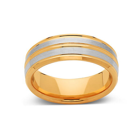8mm,New,Unique,High Polish,Yellow Gold,Mens Tungsten Bands,Wedding Ring,Unisex,Comfort Fit - LUXURY BANDS LA