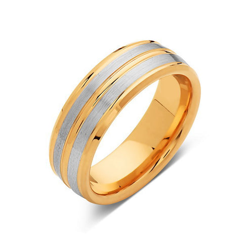 Brushed Gray Tungsten Wedding Band - Yellow Gold Tungsten Ring - 8mm Band -  Engagement Ring - LUXURY BANDS LA
