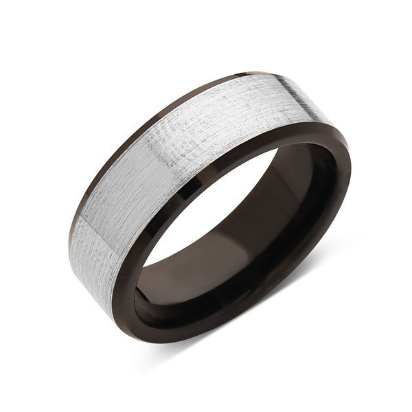 Black Tungsten Wedding Band - Gray Satin Brushed Ring - 8MM - Beveled Edges - Unique - Mens Engagement Ring - Comfort Fit - LUXURY BANDS LA