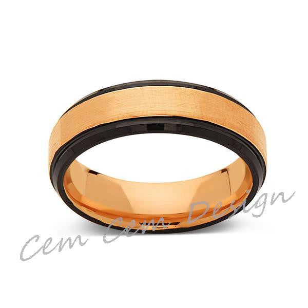 6mm,New,Unique,Brushed,Rose Gold,Black,Tungsten Ring,Mens Wedding Band,Unisex,Comfort Fit - LUXURY BANDS LA