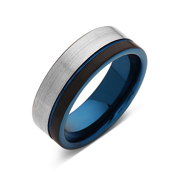 Blue Tungsten Wedding Band - Black Brushed - Gray Brushed Tungsten Ring - 8mm - Mens Ring - Tungsten Carbide - Engagement Band - Comfort Fit - LUXURY BANDS LA