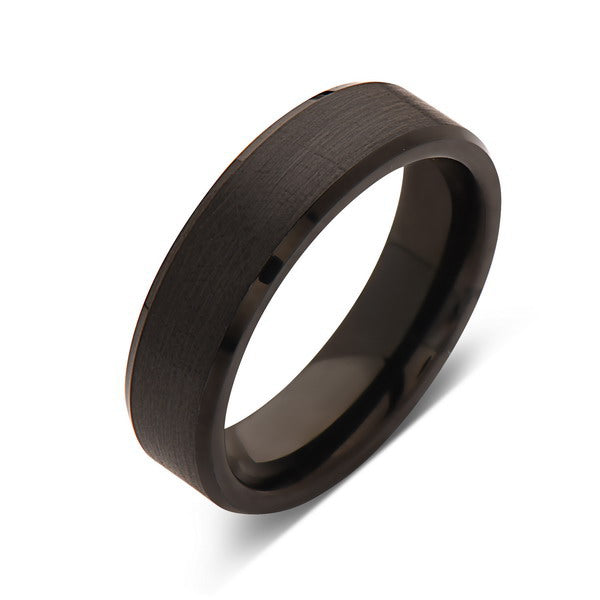 Black Tungsten Wedding Band - Brushed Black Ring - 6mm- Mens Ring - Tungsten Carbide- Engagement Band - Comfort Fit - LUXURY BANDS LA