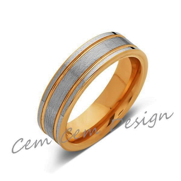6mm,New,Unique,High Polish,Brushed,Rose Gold,Tungsten Ring,Wedding Band,Mens,Comfort Fit - LUXURY BANDS LA