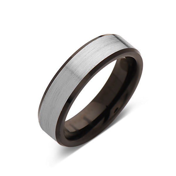 Black Tungsten Wedding Band - Gray Satin Brushed Ring - 6MM - Beveled Edges - Unique - Mens Engagement Ring - Comfort Fit - LUXURY BANDS LA