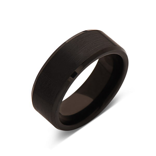 8mm,New,Unique,Flat,Black Gun Metal Bushed,Tungsten Rings,Wedding Band,Matching,Comfort Fit - LUXURY BANDS LA