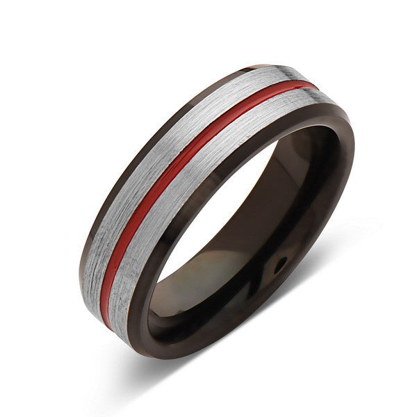 Red Tungsten Wedding Band - Gray Brushed Tungsten Ring - 6mm - Mens Ring - Tungsten Carbide - Engagement Band - Comfort Fit - LUXURY BANDS LA