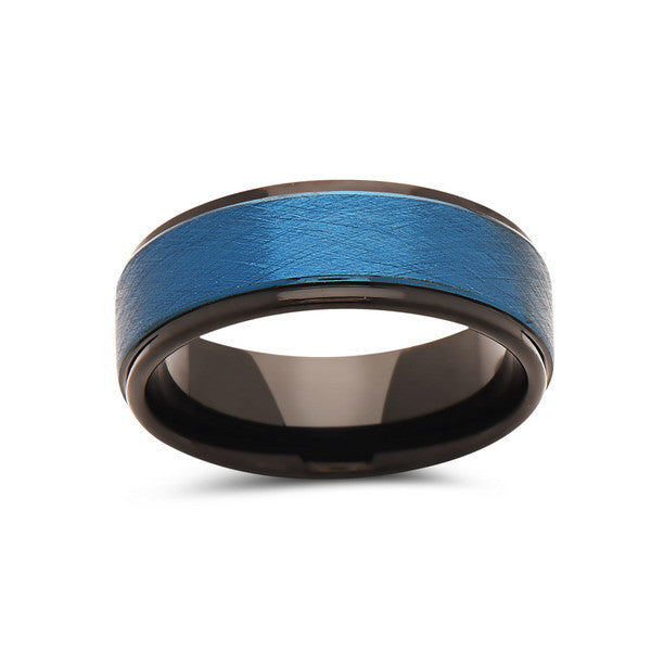 Blue Tungsten Wedding Band - Brushed Blue Tungsten Ring - 8mm - Mens Ring - Tungsten Carbide - Engagement Band - Comfort Fit - LUXURY BANDS LA
