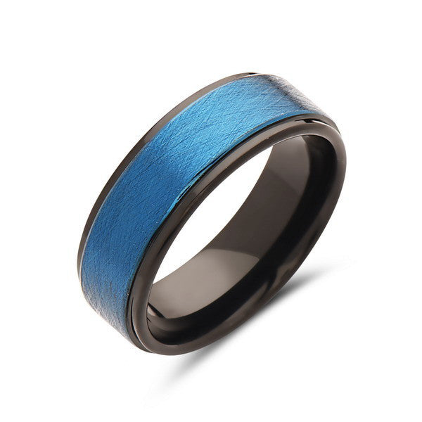 8mm,Men's Blue and Black Tungsten Ring,Brushed,Hammered Wedding Ring,Tungsten Band,Mens Ring,Comfort Fit - LUXURY BANDS LA