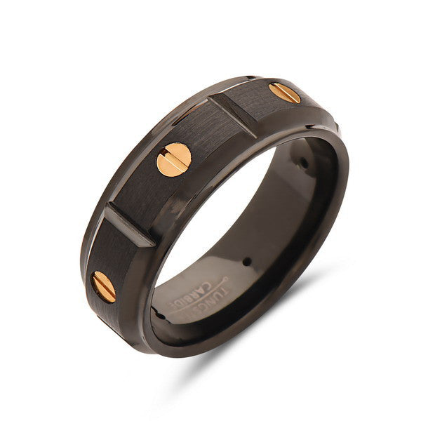 8mm,Mens Black Tungsten Ring,Rose Gold and Black Tungsten Band,Screw Design Ring,Tungsten Wedding Band,Unique Tungsten,Comfort Fit - LUXURY BANDS LA