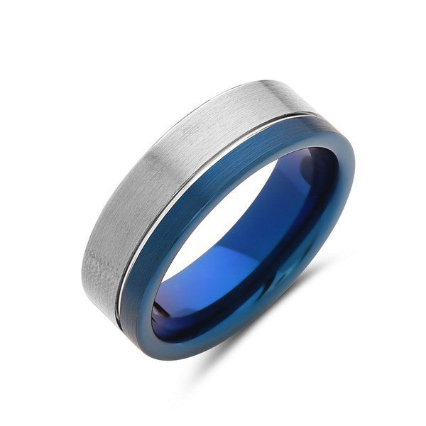 8mm,Men's Blue Tungsten Ring,Brushed Gun Metal,Tungsten Band,Mens Ring,Comfort Fit - LUXURY BANDS LA