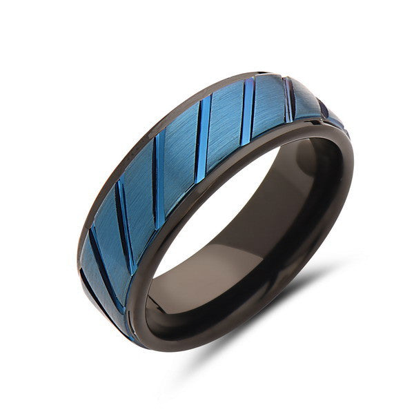 8mm,Men's Blue Tungsten Band,Brushed,Curved Grooves,Mens Wedding Ring,Tungsten Band,Mens Band,Comfort Fit - LUXURY BANDS LA