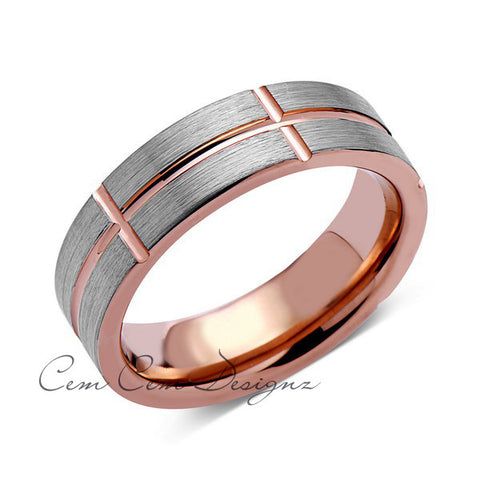 6mm,Gray Brushed Gun Metal Gun Metal Gray Brushed,Rose Gold Groove,Tungsten RIng,Pipe Cut - LUXURY BANDS LA