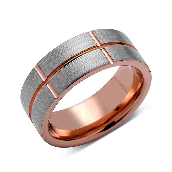 Rose Gold Tungsten Ring - Gray Brushed Wedding Band - 8 mm Ring - Cross Ring - Unique Engagment Band - Comfort Fit - LUXURY BANDS LA