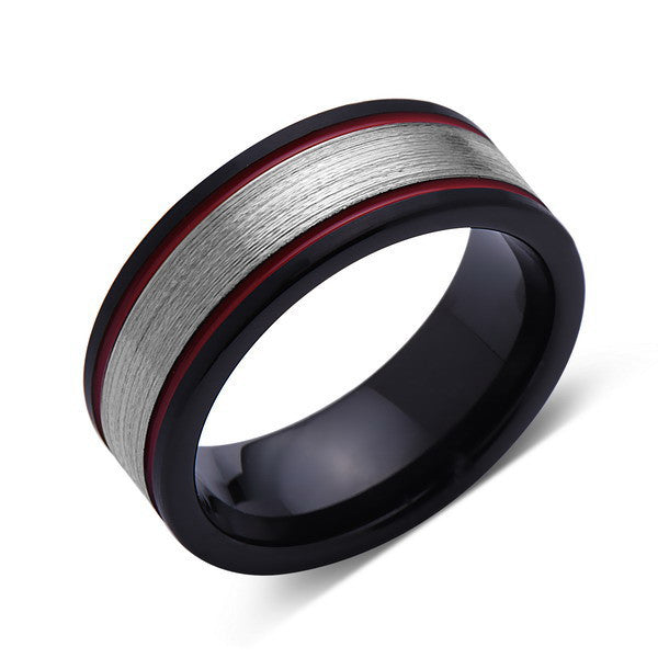 Gray and Red Brushed Tungsten Ring - Black Tungsten Wedding Band - 8mm - Mens Ring - Tungsten Carbide - Engagement Band - Comfort Fit - LUXURY BANDS LA