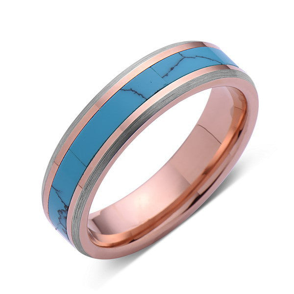 Turquoise Inlay Tungsten Ring - Rose Gold and Gray Tungsten Band - Turquoise Wedding Band - 6mm - Mens - Comfort Fit - LUXURY BANDS LA
