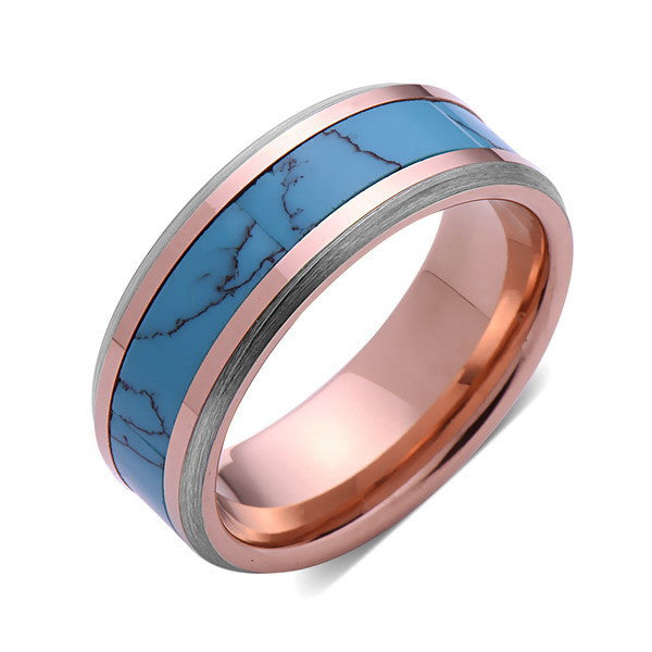 Turquoise Inlay Tungsten Ring - Rose Gold and Gray Tungsten Band - Turquoise Wedding Band - 8mm - Mens - Comfort Fit - LUXURY BANDS LA