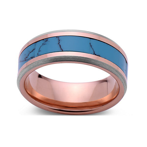 Turquoise Inlay Tungsten Ring Rose Gold And Gray Tungsten Band Luxury Bands La