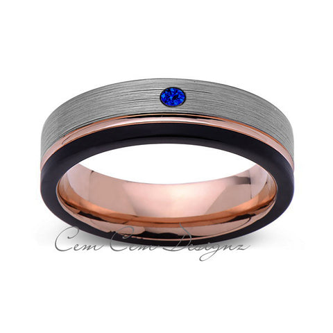 6mm,Mens,Blue Sapphire,Black,Gray Brushed,Rose Gold,Tungsten Ring,Rose Gold,Wedding Band,Comfort Fit - LUXURY BANDS LA