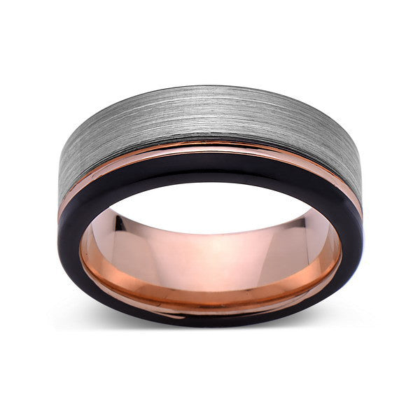 Rose Gold Tungsten Wedding Band - Gray and Black Brushed Tungsten Ring - 8mm - Mens Ring - Tungsten Carbide - Engagement Band - Comfort Fit