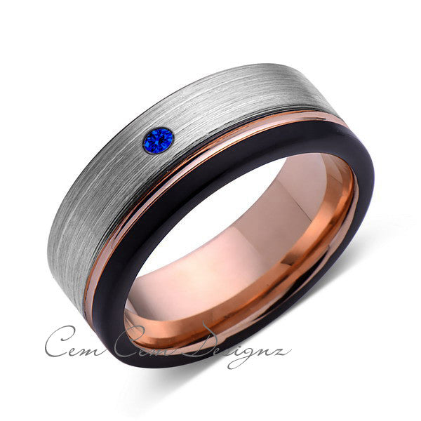 8mm,Mens,Blue Sapphire,Black,Gray Brushed,Rose Gold,Tungsten Ring,Rose Gold,Wedding Band,Comfort Fit - LUXURY BANDS LA