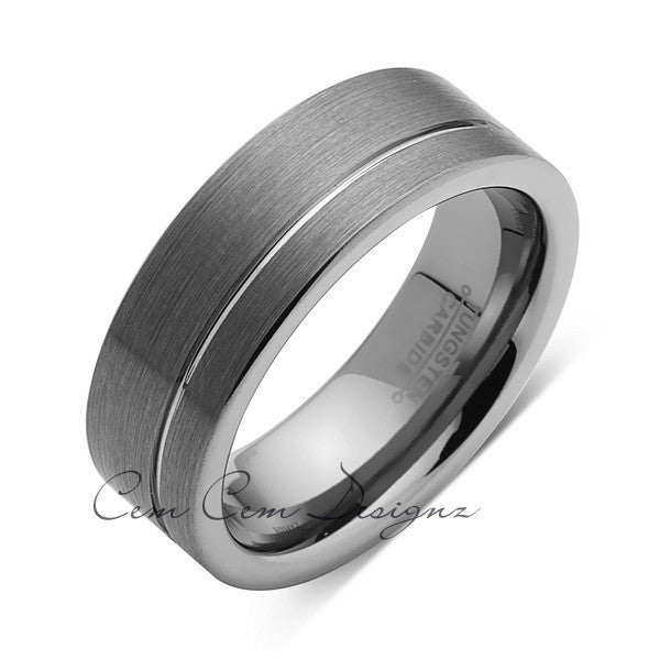 Gray Brushed Tungsten Ring - Pipe Cut - Groove - Gunmetal - 8mm - Engagement Band - LUXURY BANDS LA