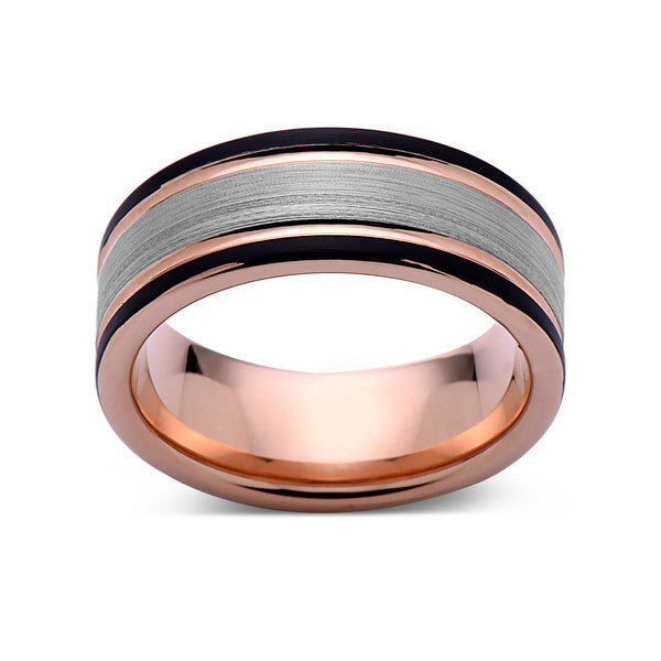 Rose Gold Tungsten Wedding Band - Gray Brushed Ring - Pipe Cut - 8mm Ring - Unique Engagment Band - Comfor Fit - LUXURY BANDS LA
