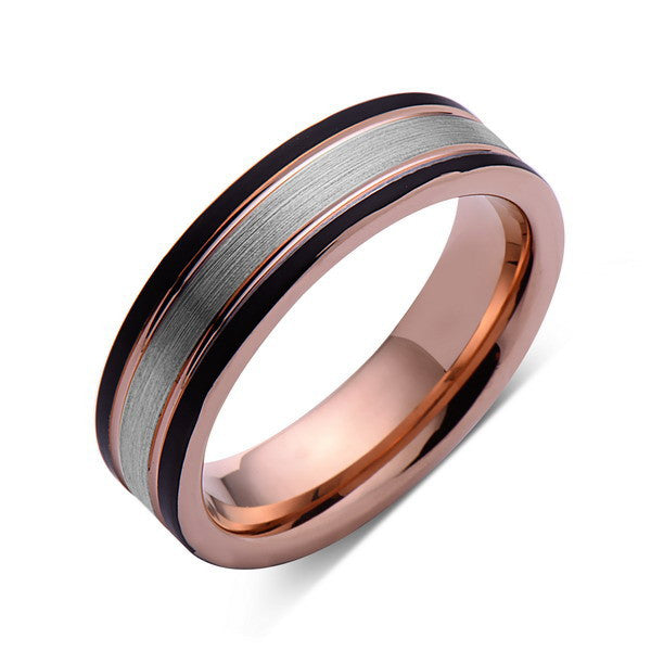 Rose Gold Tungsten Wedding Band - Gray Brushed Ring - Pipe Cut - 6mm Ring - Unique Engagement Band - Comfort Fit - LUXURY BANDS LA