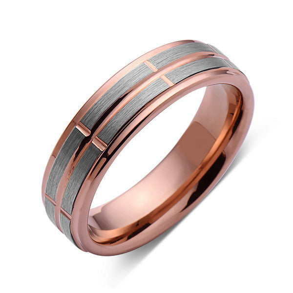 6mm,Rose Gold,Unique,Brushed Gun Meta,Gray Brushed,Rose Gold Grooves,Tungsten Ring,Unisex,Comfort Fit - LUXURY BANDS LA