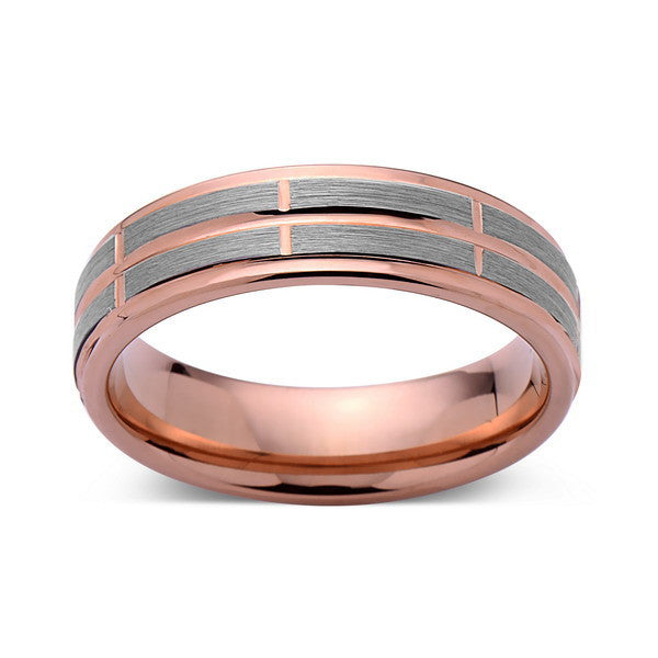 Rose Gold Tungsten Ring - Gray Brushed Wedding Band - 6 mm Ring - Unique Engagment Band - Comfort Fit - LUXURY BANDS LA