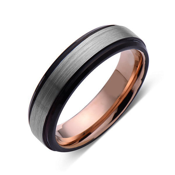 Rose Gold Tungsten Wedding Band - Gray Brushed Ring - 6mm Ring - Unique Engagment Band - Comfor Fit