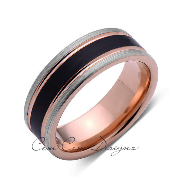 Rose Gold Tungsten Wedding Band - Black Brushed Ring - Pipe Cut - 8mm Ring - Unique Engagment Band - Comfor Fit - LUXURY BANDS LA