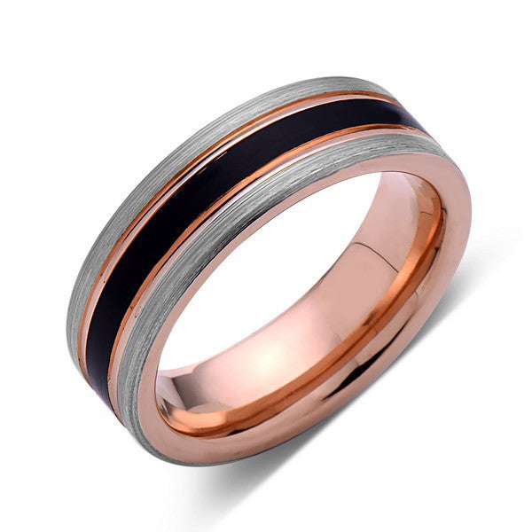 Rose Gold Tungsten Wedding Band - Black Brushed Ring - Pipe Cut - 6mm Ring - Unique Engagement Band - Comfort Fit - LUXURY BANDS LA