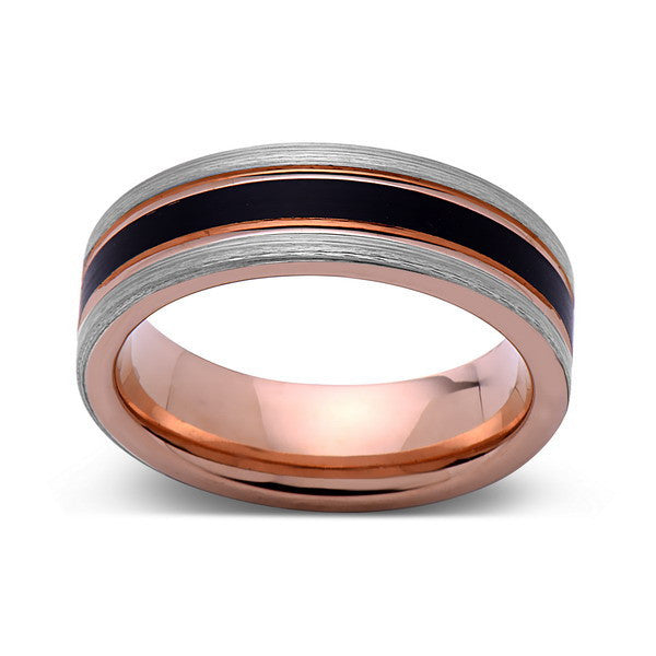 Rose Gold Tungsten Wedding Band - Black Brushed Ring - Pipe Cut - 6mm Ring - Unique Engagment Band - Comfor Fit - LUXURY BANDS LA