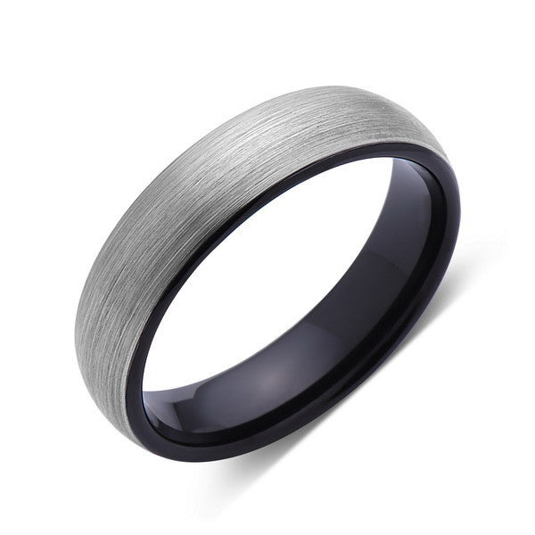 Brushed Tungsten Ring - Dome - Gray Brushed - Black - 6mm - Mens Ring - Comfort Fit - LUXURY BANDS LA
