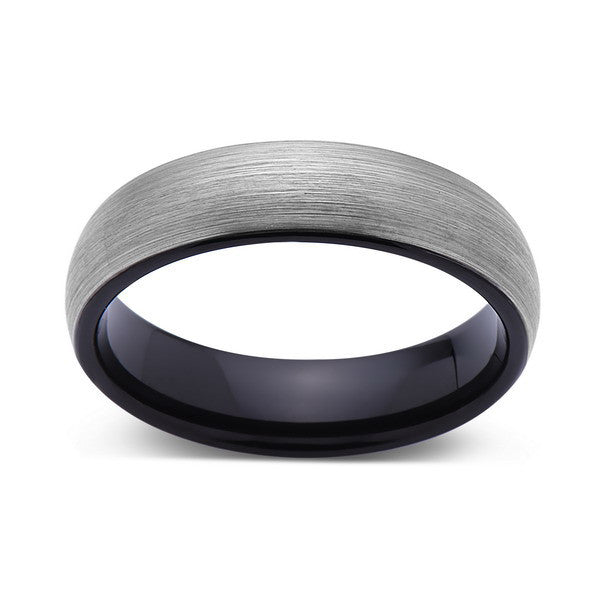 6mm,New,Unique,Gun Metal Gray Brushed,Tungsten Rings,Black Wedding Band,Matching,Unisex,Comfort Fit - LUXURY BANDS LA