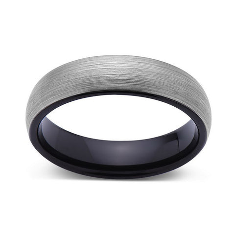 Gray and Black - Brushed Tungsten Ring - Gunmetal - 6mm - Dome - Mens Ring - LUXURY BANDS LA