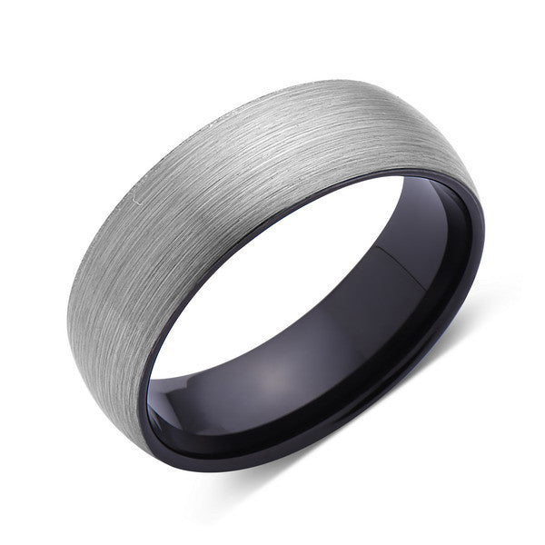 Brushed Tungsten Ring - Dome - Gray Brushed - Black - 8mm - Mens Ring - Comfort Fit - LUXURY BANDS LA