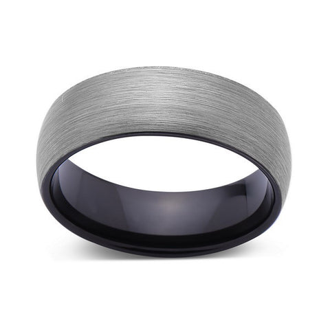 Gray and Black - Brushed Tungsten Ring - Gunmetal - 8mm - Dome - Mens Ring - LUXURY BANDS LA