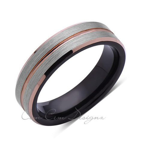 6mm,Brushed Gun Metal,Gray and Black Brushed,Rose Gold Groove,Tungsten Ring,Unisex Comfort Fit - LUXURY BANDS LA