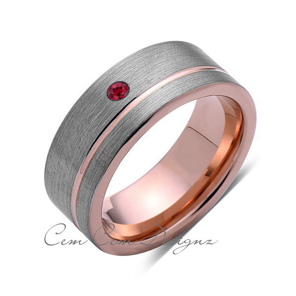 8mm,Mens,Red Ruby,Ring,Brushed,Rose Gold,Tungsten Ring,Birthstone,Wedding Band,Comfort Fit - LUXURY BANDS LA