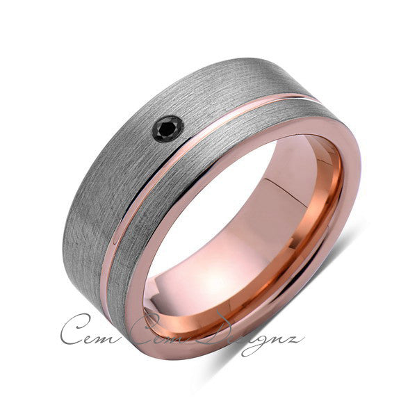 8mm,Mens,Black Diamond Ring,Brushed,Rose Gold,Tungsten Ring,Rose Gold,Wedding Band,Comfort Fit - LUXURY BANDS LA