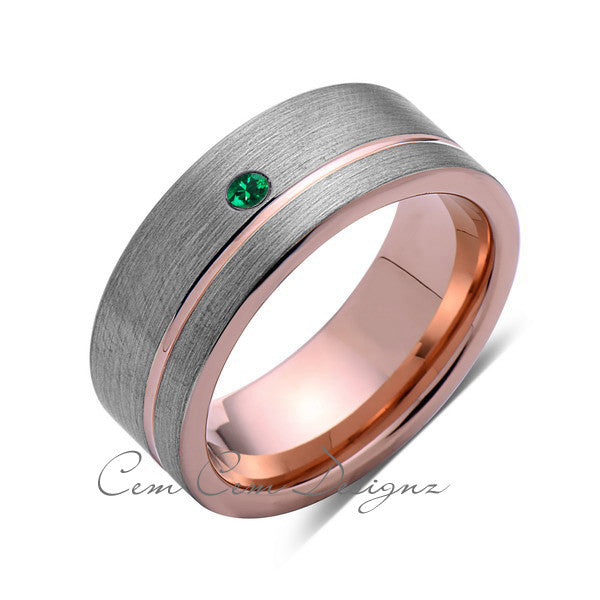 8mm,Mens,Green Emerald,Ring,Brushed,Rose Gold,Tungsten Ring,Birthstone,Wedding Band,Comfort Fit - LUXURY BANDS LA
