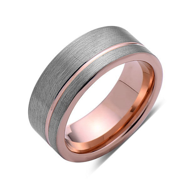 Rose Gold Tungsten Wedding Band - Gray Brushed Tungsten Ring - 8mm - Mens Ring - Tungsten Carbide - Engagement Band - Comfort Fit - LUXURY BANDS LA